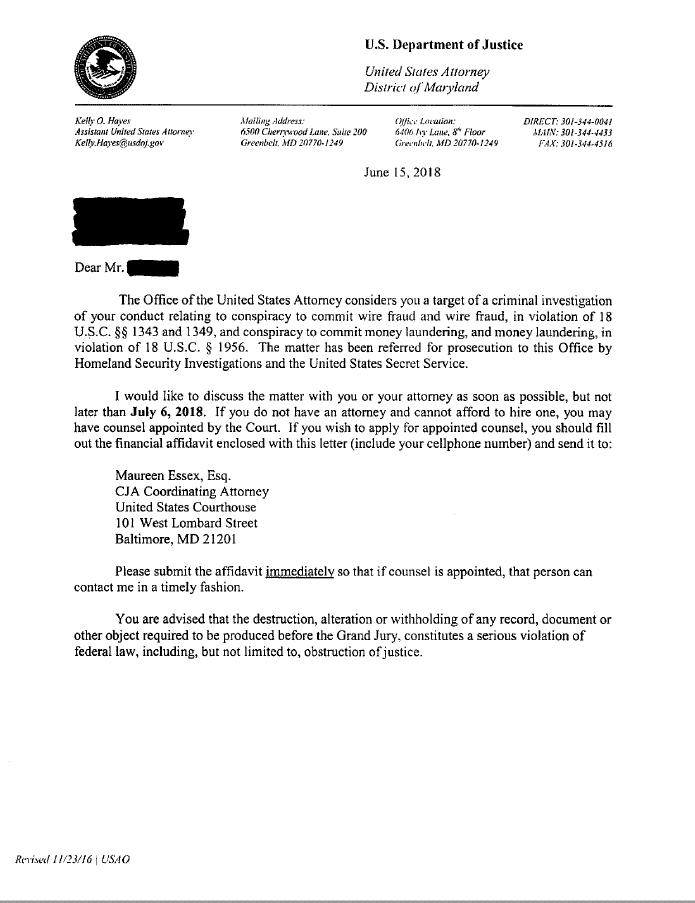 sample target letter